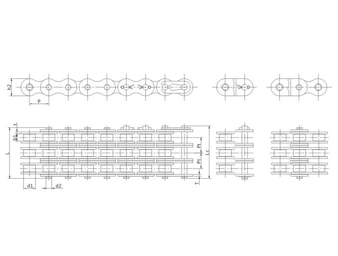 B系列叁排短节距精密滚子链